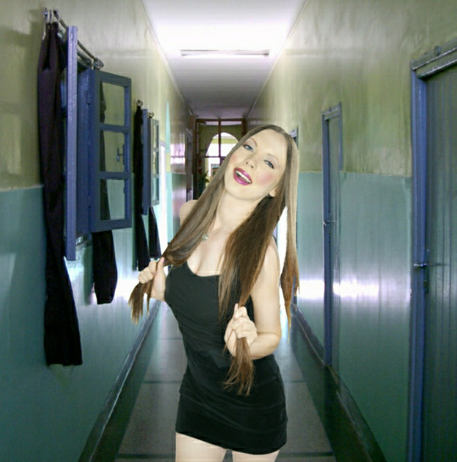 girl in hotel corridor