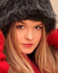 Girl in fur hat