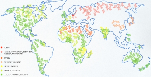 Map of most difficult language on earth